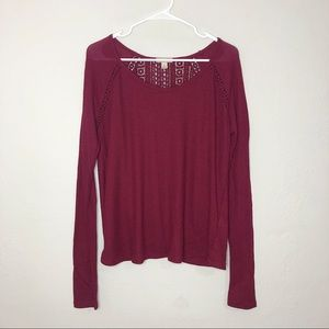 • Lucky Brand • long sleeve top w/wrap back & lace